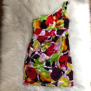 Love Tease water color print one shoulder dress
